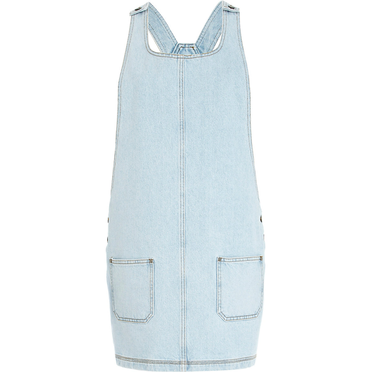 Light wash denim pinafore dress