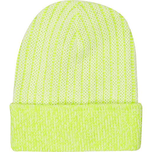 Yellow bright rib knitted beanie hat