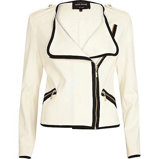Cream contrast trim biker blazer