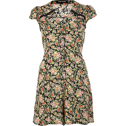 Navy floral print cut out romper