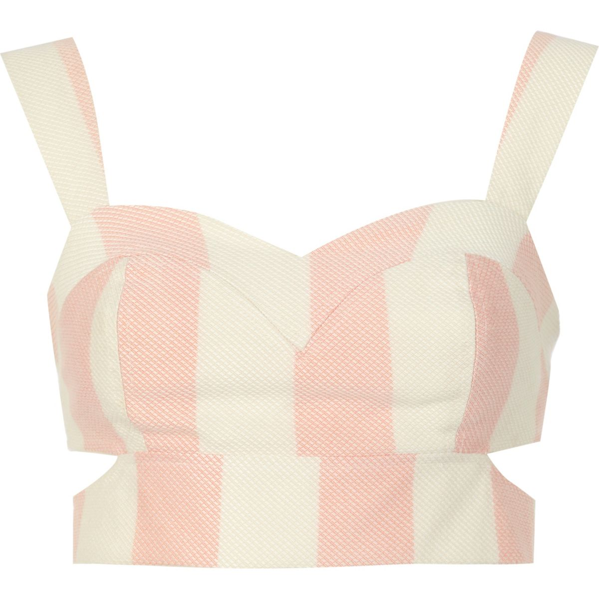 Pink and white stripe cut out bralet
