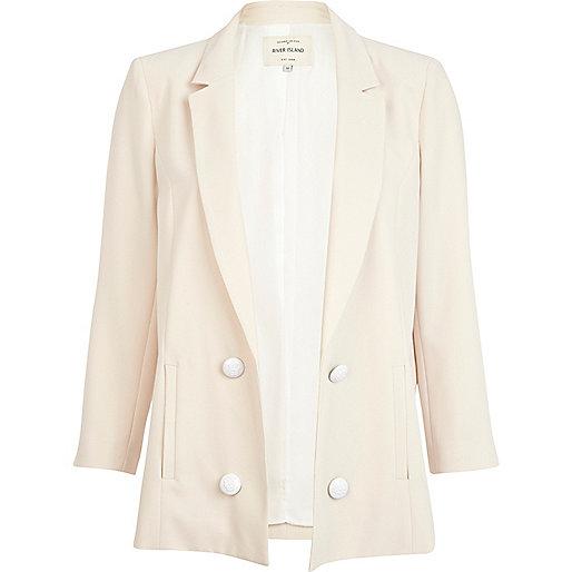 Beige 3/4 sleeve smart blazer