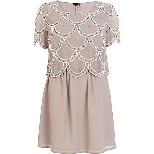 Grey embellished flapper dress