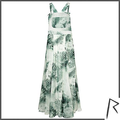 Green tie dye Rihanna overall maxi dress