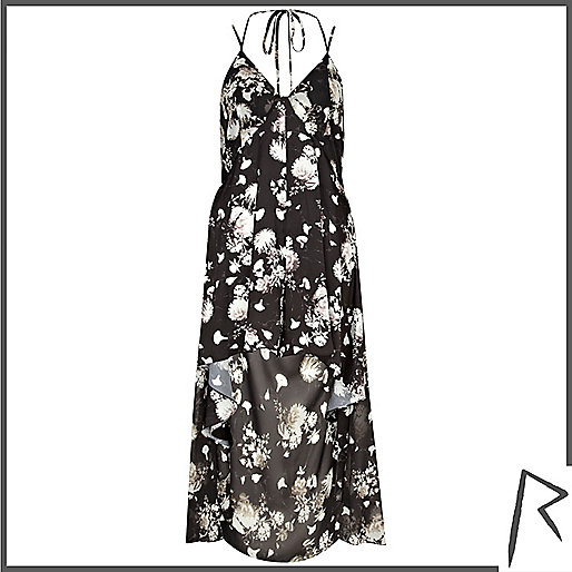 Black floral Rihanna dip hem culotte dress