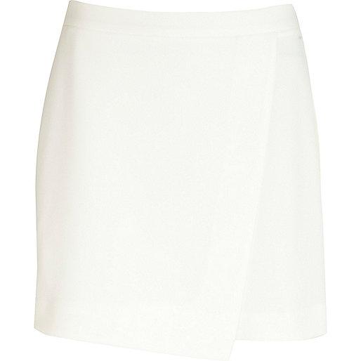 White wrap mini skirt
