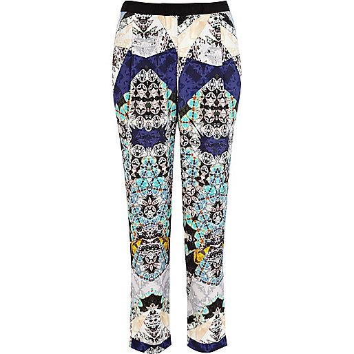 Blue kaleidoscope print smart pants