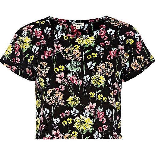Black floral print cropped t shirt tops sale women for Black floral print shirt