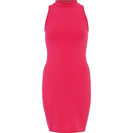 Pink turtle neck sleeveless bodycon dress