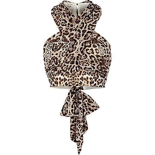Brown leopard print wrap halter neck top