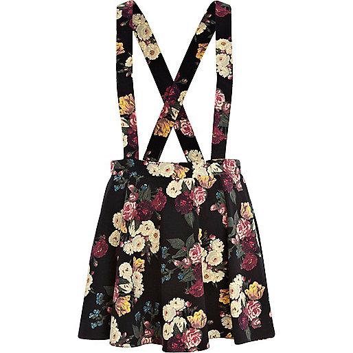 Black floral print overall skater skirt