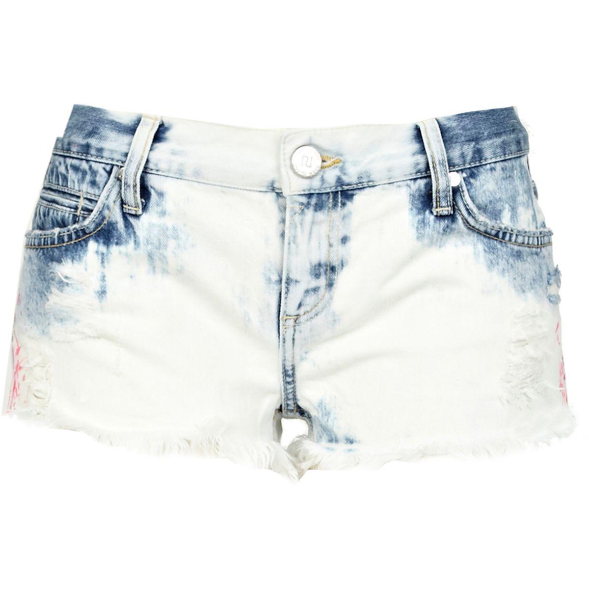 Light acid wash frayed denim shorts