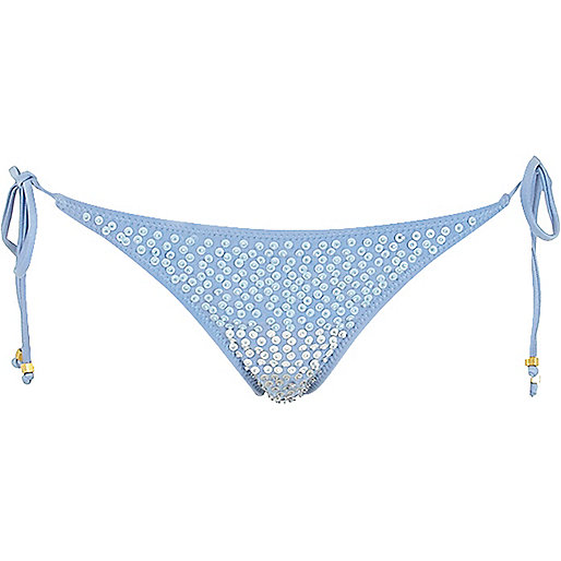Blue sequin embellished bikini bottoms