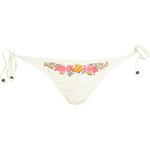 White embroidered bikini bottoms