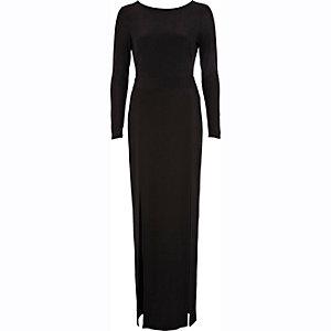 Black thigh split open back maxi dress