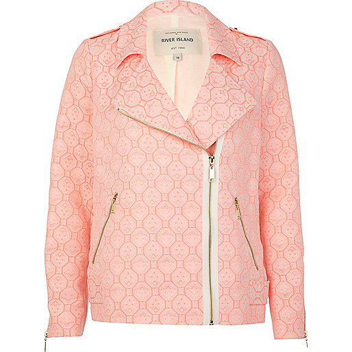 Pink tile print jacquard biker jacket