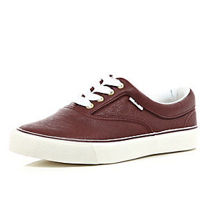 Red leather-look lace up plimsolls