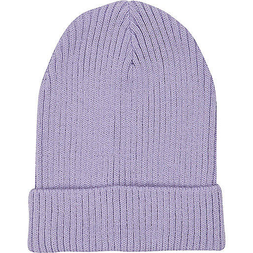 Purple rib knit beanie hat