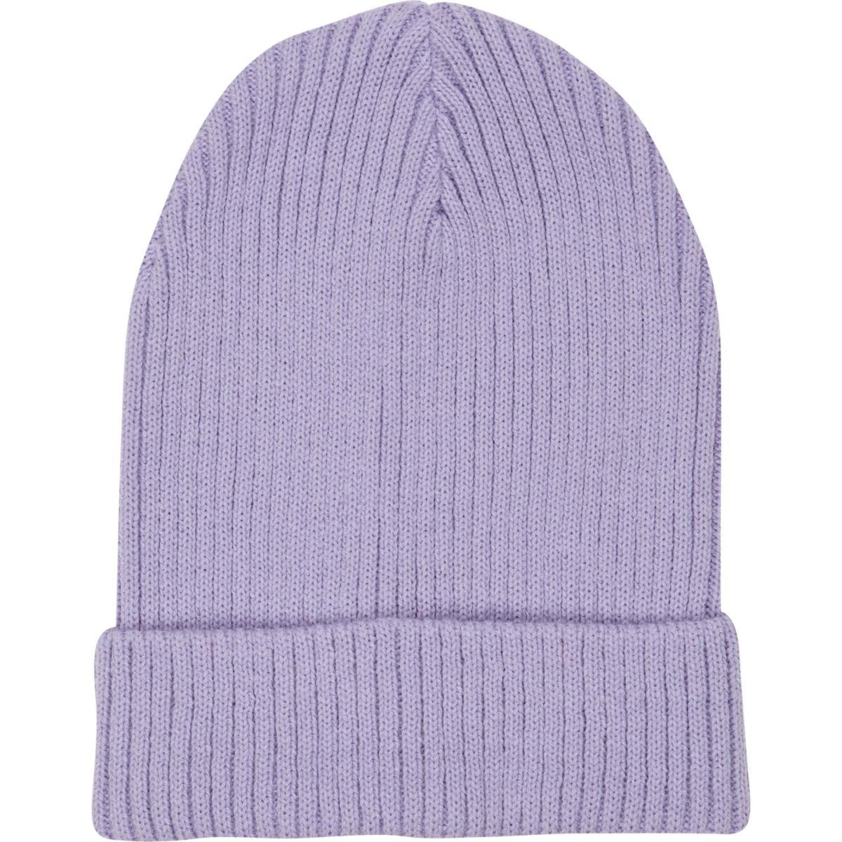 Purple rib knit beanie hat