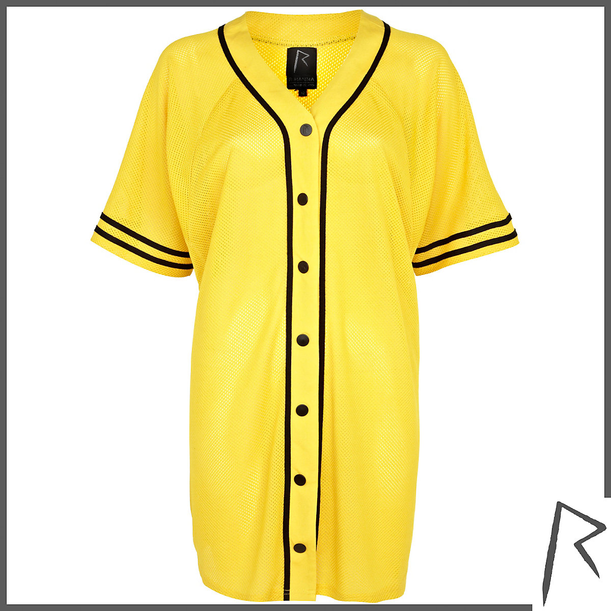 Yellow Rihanna mesh G4LIFE shirt dress