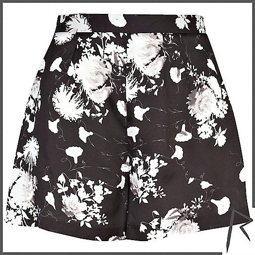 Black floral Rihanna high waisted shorts