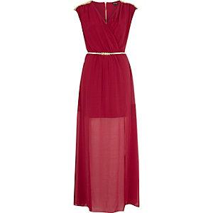 Dark red chiffon studded wrap maxi dress