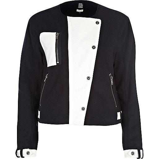 Navy Eudon Choi color block utility jacket