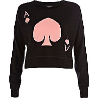 Black ace of spades cropped sweater