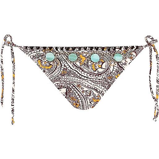 Black paisley embellished bikini bottoms