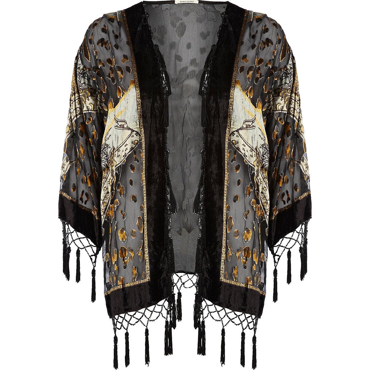 Black leopard print devore kimono