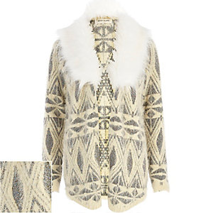 Cream metallic faux fur collar cardigan
