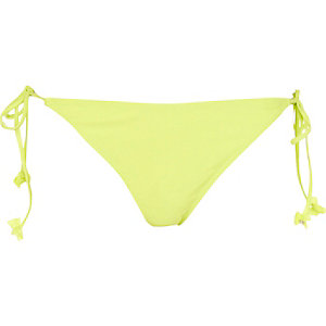 Lime bow tie side bikini bottoms