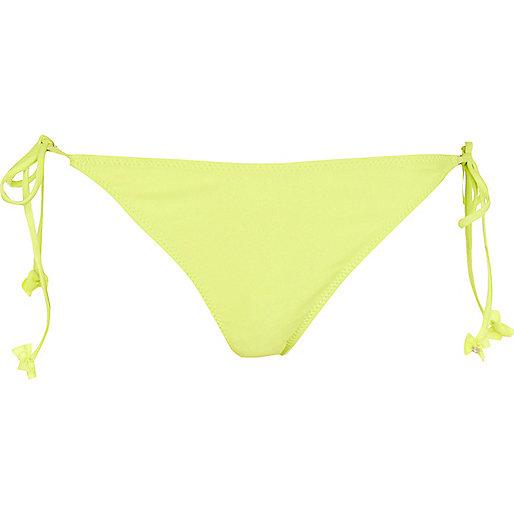 Lime bow tie side bikini bottoms