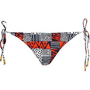 Blue and red printed bikini bottoms