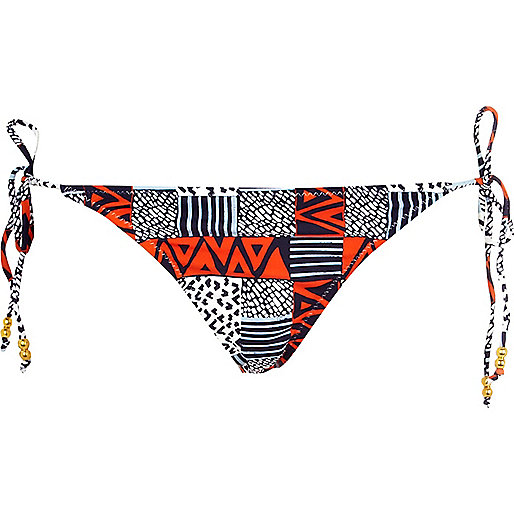 Blue and red printed bikini bottoms
