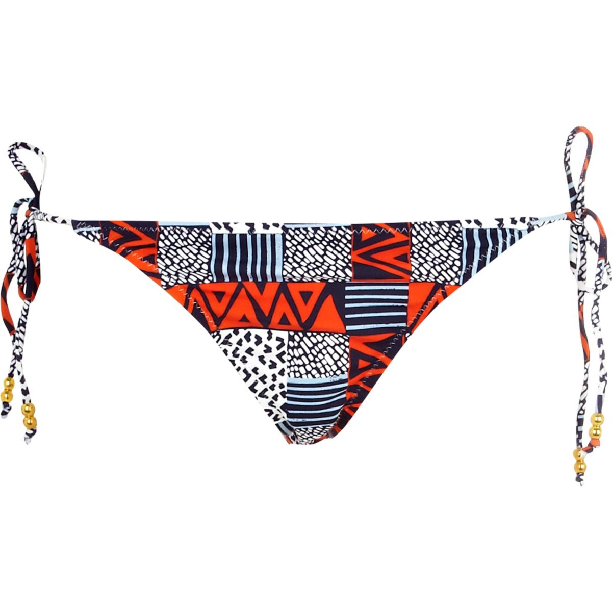 Bikinibroekje met blauw-rode print