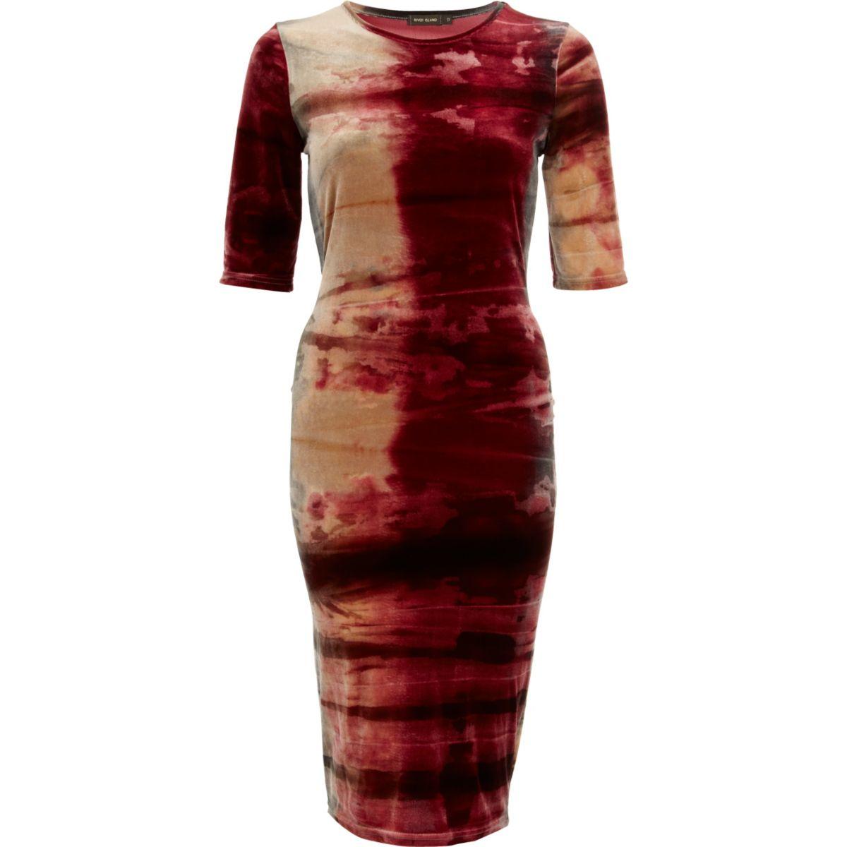 Red tie dye velvet half sleeve column dress