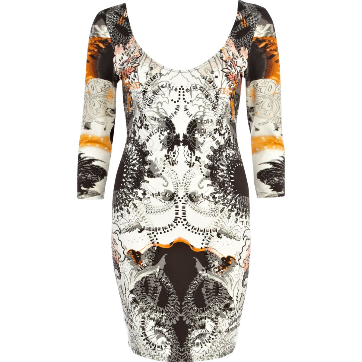 Orange abstract embellished bodycon dress