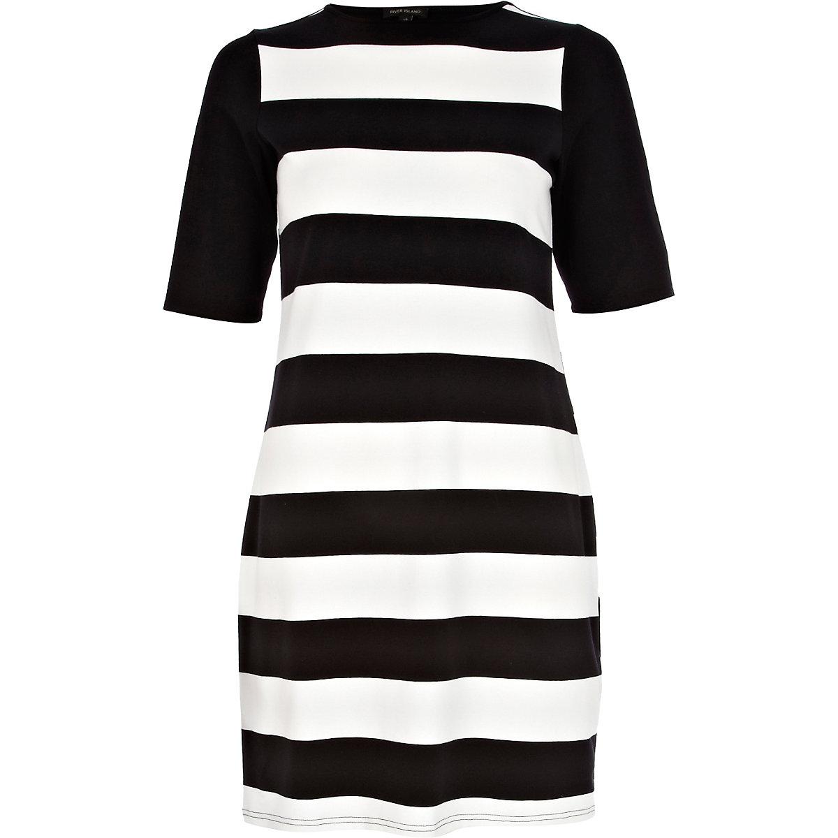 Black and white stripe shift dress