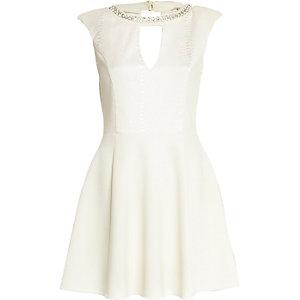 White snake panel necklace skater dress