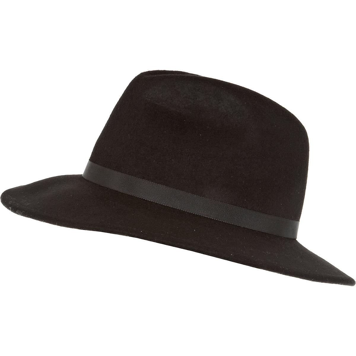 Black ribbon trim fedora hat