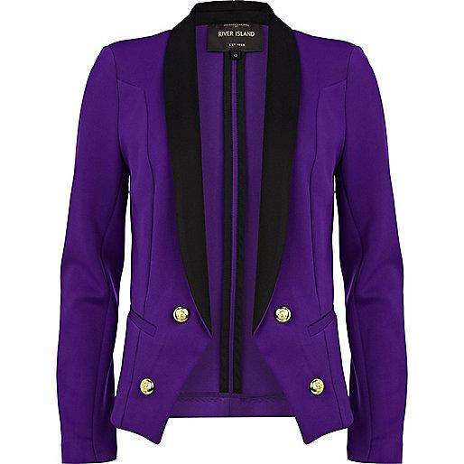 Bright purple contrast collar tux blazer