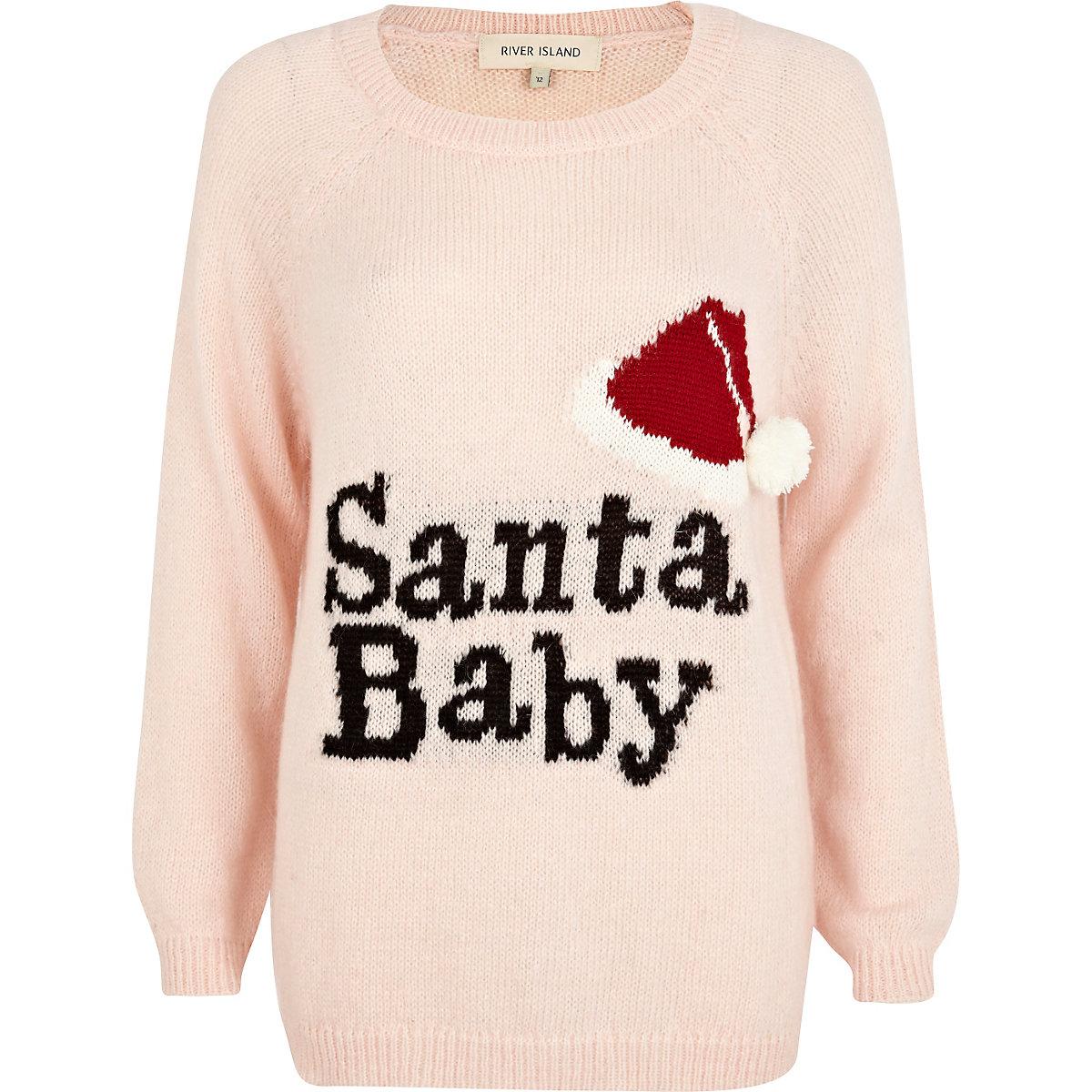 Pink Santa Baby knit jumper