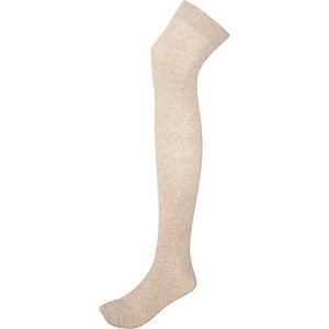 Beige over the knee socks