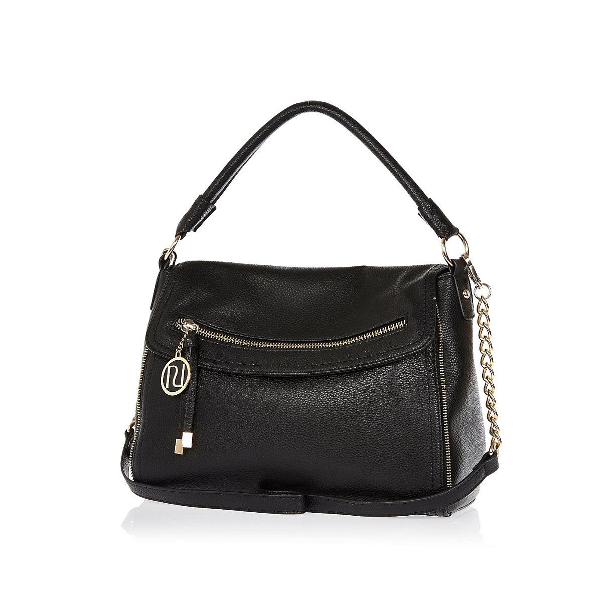 Black fold over slouch handbag