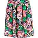 Green floral print mini skirt