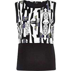Black abstract print 2 in 1 shell top