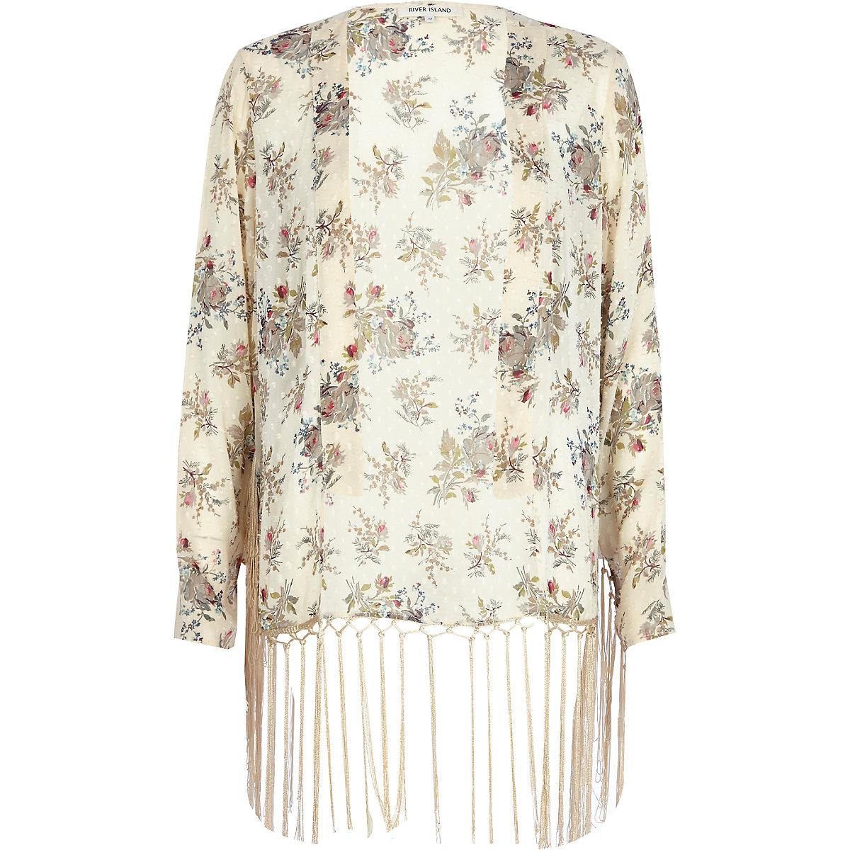 Cream floral tassel trim kimono