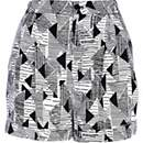 Black geometric print high waisted shorts