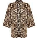 Brown leopard print kimono